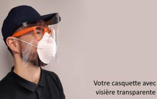 casquette avec visiere transparente